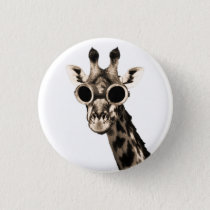 Giraffe With Steampunk Sunglasses Goggles Button