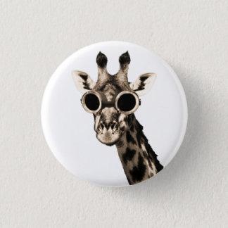 Giraffe With Steampunk Sunglasses Goggles Button