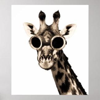 Giraffe With Steampunk Sunglasses Goggles Poster