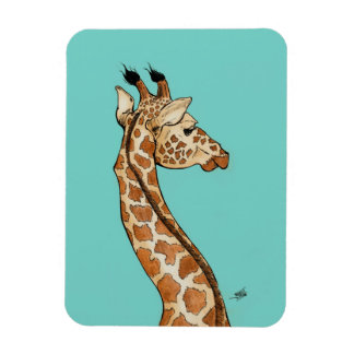 Giraffe with teal background magnet