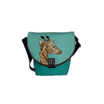 Giraffe with teal background messenger bag