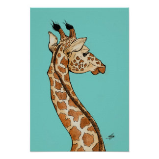 Giraffe with teal background poster
