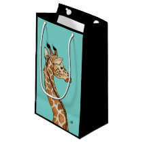 Giraffe with teal background small gift bag