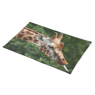 Giraffe with Tongue Out Cloth Placemat