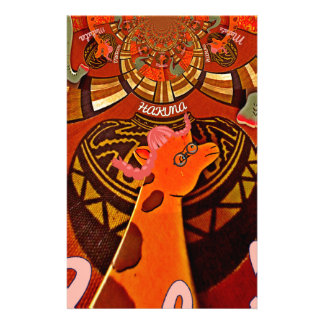 Giraffe with two ponytails art stationery