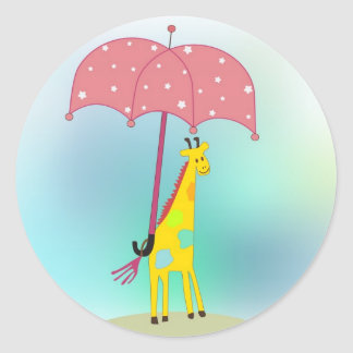 giraffe with umbrella classic round sticker