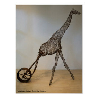 Giraffe with Wheel Poster - Ellen Rogers