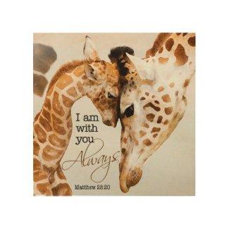 Giraffe wooden print