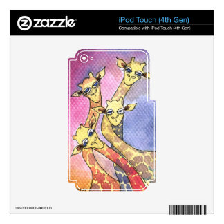 Giraffe Wtercolor Funny Animal Decals For iPod Touch 4G
