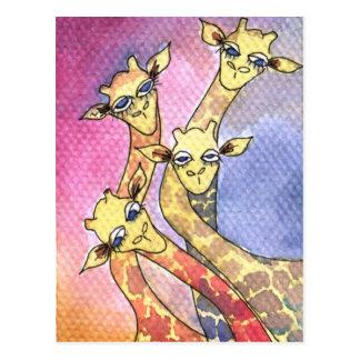 Giraffe Wtercolor Funny Animal Postcard
