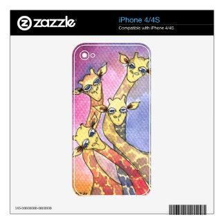 Giraffe Wtercolor Funny Animal Skin For iPhone 4
