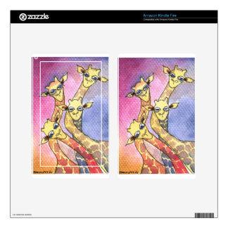 Giraffe Wtercolor Funny Animal Skin For Kindle Fire