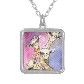 Giraffe Wtercolor Funny Animal Square Pendant Necklace