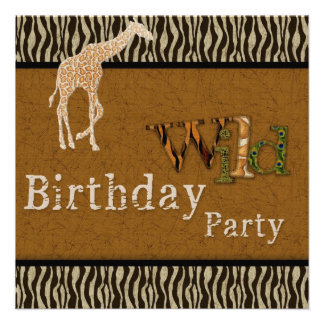 Giraffe Zebra Safari Zoo Birthday Party Invitation