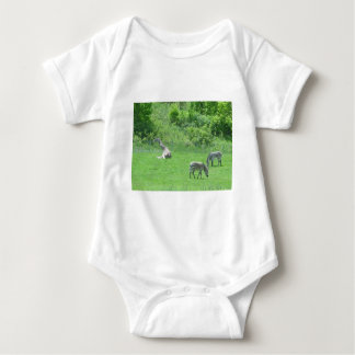 Giraffe & Zebras Grazing During the Summer Baby Bodysuit
