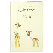 Giraffes 2014. Cute Cartoons. Calendar