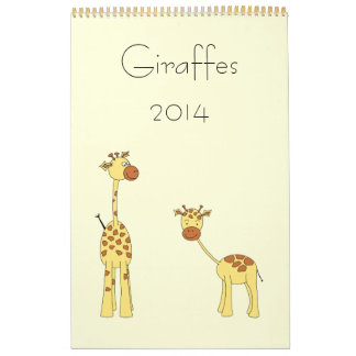 Giraffes 2014. Cute Cartoons. Calendar