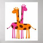 giraffes-297326  giraffes orange pink cartoon safa posters