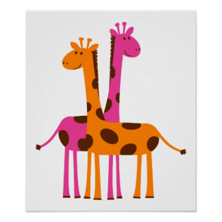 giraffes-297326  giraffes orange pink cartoon safa poster
