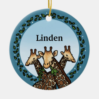 Giraffes and Laurel, Add Your Name Ceramic Ornament