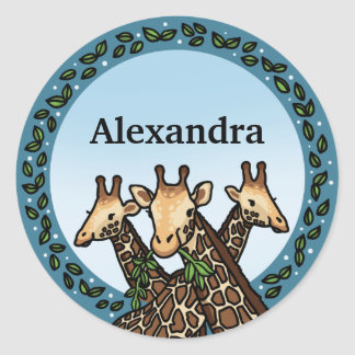 Giraffes and Laurel, Add Your Name Classic Round Sticker