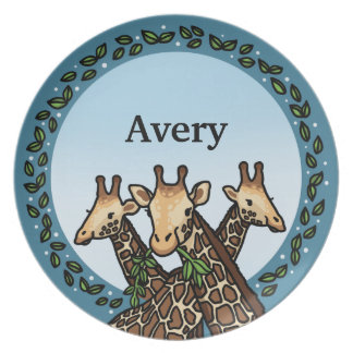 Giraffes and Laurel, Add Your Name Melamine Plate