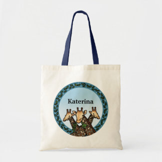 Giraffes and Laurel, Add Your Name Tote Bag