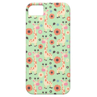 Giraffes and Spring Flowers Pattern iPhone 5 Case