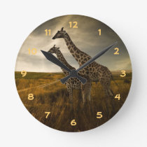 Giraffes and The Landscape Round Clock