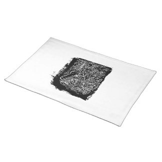 Giraffes and Tree Tops. Black and White Cloth Placemat