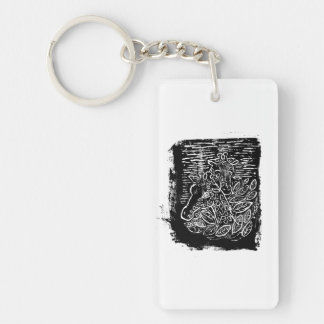 Giraffes and Tree Tops. Black and White. Keychain