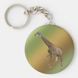 Giraffes and trees,长颈鹿. Wild animal zoo photograph Keychain