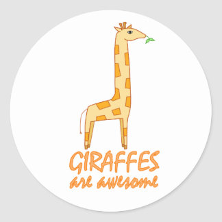 Giraffes are Awesome Classic Round Sticker
