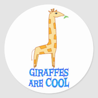 Giraffes are COOL Round Stickers