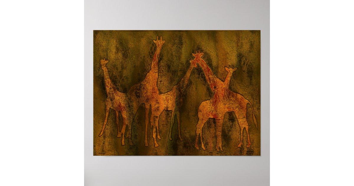 Giraffes art mural poster zazzle for Poster mural 4 murs