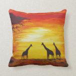 Giraffes At Sunset (Kimberly Turnbull Art) Pillows