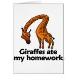 Giraffes ate my homework card