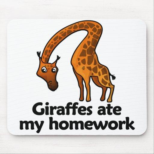 Giraffes ate my homework mousepad