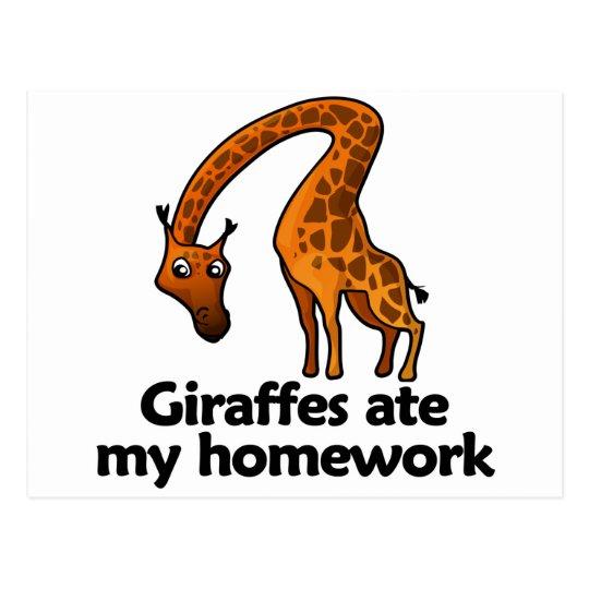 Giraffes ate my homework postcard