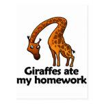 Giraffes ate my homework postcards