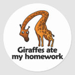 Giraffes ate my homework stickers