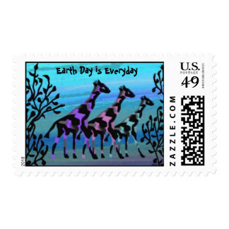 Giraffes Celebrate Earth Day Postage Stamps
