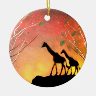 Giraffes Ceramic Ornament