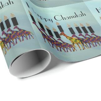 Giraffes Chanukah Menorah Gift Wrap Paper