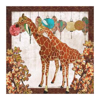 Giraffes Cherry Blossom Garden Party  Canvas