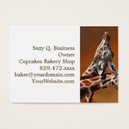 Giraffes couple in love business card