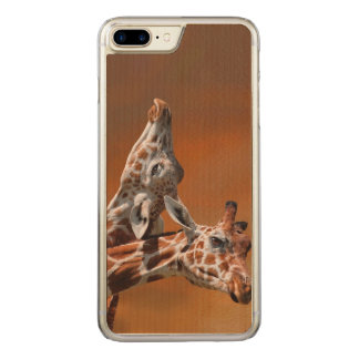 Giraffes couple in love carved iPhone 7 plus case