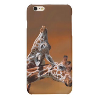 Giraffes couple in love matte iPhone 6 plus case