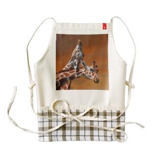 Giraffes couple in love zazzle HEART apron