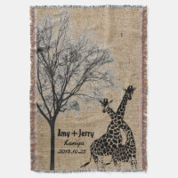 Giraffes Couple Love Personalized Wedding Gift Throw Blanket